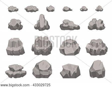 Cartoon Stones, Rocks, Boulders, Rubble And Gravel Pieces. Natural Granite Construction Material. Ro