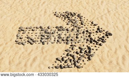 Concept conceptual stones on beach sand handmade symbol shape, golden sandy background, road sign. 3d illustration metaphor for navigation, strategy, journey, guidance, choice and decision