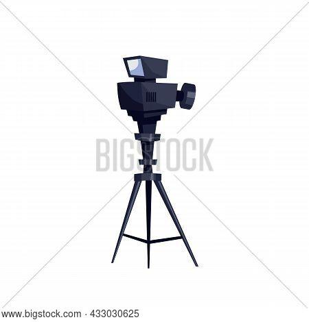 Vector Flat Cartoon Video Camera Isolated On Empty Background-professional Tv Studio Equipment, Tele
