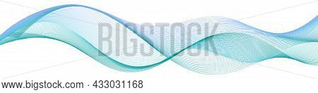 Wave Swirl Swoosh Blue Teal Color Flow Sea Water Wave Air Wind Dynamic Undulate Curve Line.smooth Sw
