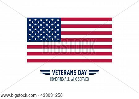 Veterans Day Simple Greeting Card With Usa Flag. Vector Illustration