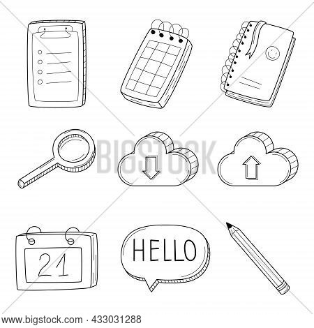 A Set Of Linear Icons With A Notepad, Notebook, Calendar, Pencil, Magnifying Glass, Cloud. Business