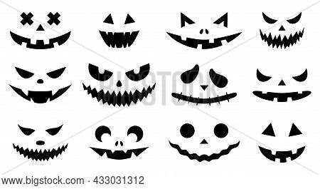 Funny Physiognomies. A Set Of Halloween Pumpkins With Carved Silhouettes Of Faces Isolated On White.
