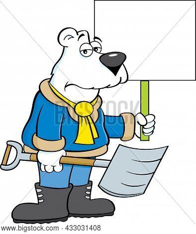 Cartoon Illustration Of A Polar Bear Holding A Snow Shovel And A Sign.