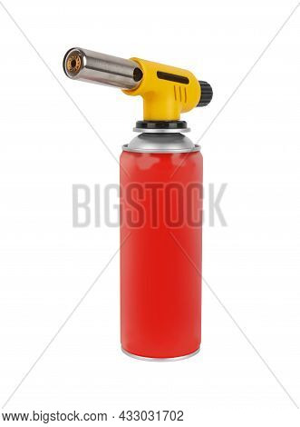 Gas Can With Manual Torch Burner Isolated On White Background