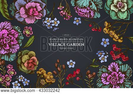 Floral Design On Dark Background With Wax Flower, Forget Me Not Flower, Tansy, Ardisia, Brassica, De