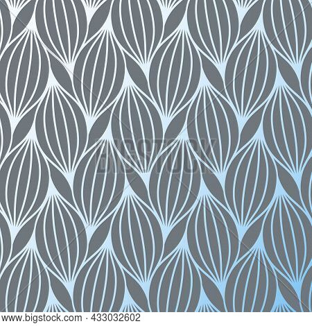 Flower Petal Or Leaves Geometric Pattern Vector Background. Repeating Tile Texture Of This Line On O