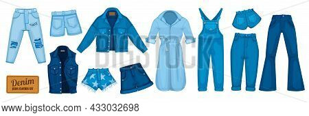 Denim Clothes Flat Color Set Of Modern Jeans Jacket Shorts Overall Dress Isolated On White Backgroun