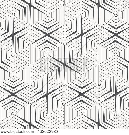 Geometric Vector Pattern, Repeating Stripe Linear Hexagon Shape. Pattern Is Clean For Fabric, Wallpa
