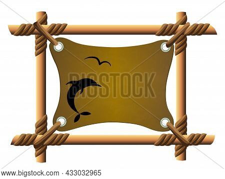 Tropical Isolated Frame Made Of Tied Sticks And Tied Fabric, Design Element