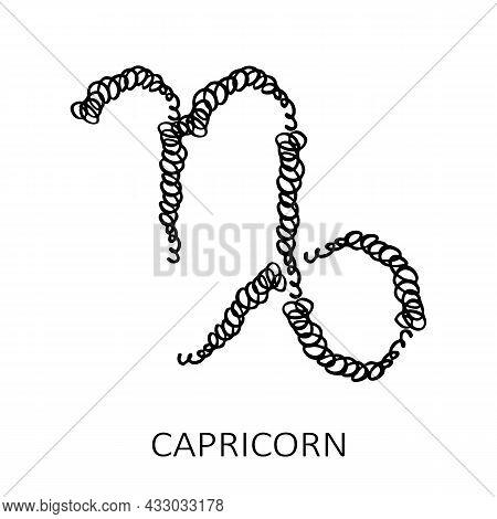 Zodiac Sign Capricorn Isolated On White Background. Zodiac Constellation. Design Element For Horosco
