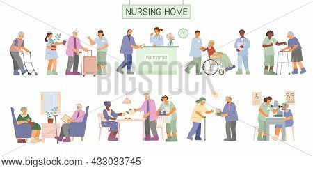 Flat Nursing Home Assisted Living Set With Senior People Arriving Walking Reading Getting Medical As