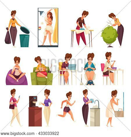 Daily Woman Routine Flat Set Of Female Characters Doing Housework Gardening Cleaning Resting Isolate