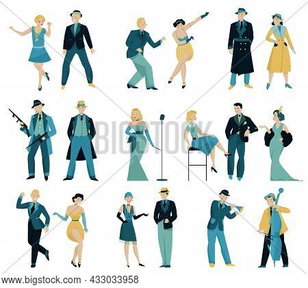 Retro Women And Men In 20s 30s And 40s Set With Isolated Human Characters Of Dandies Vector Illustra