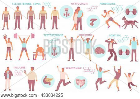 Set Of Isolated Hormones Man Icons With Male Human Characters Various Poses Text Captions Molecular