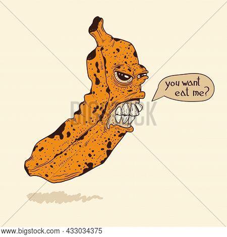 Creepy Evil Grinning Banana Zombie Attacks People