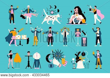 Magic Show Flat Icons Set With Magicians Assistants Gypsy And Equipment For Performing Various Trick