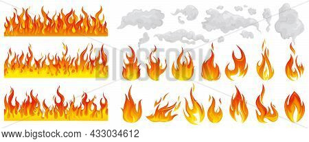 Fire Flame Smoke Icon Set Different Types Borders And Grades Of Fires And Smokes Vector Illustration