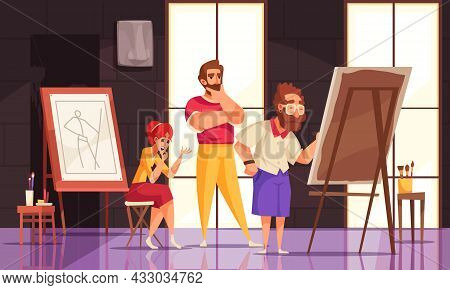Professional Teacher Giving Art Master Class To Man And Woman In Studio Cartoon Vector Illustration