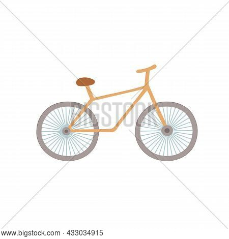 Vector Flat Cartoon Bicycle Isolated On Empty Background-healthy Lifestyle, Sports Activities Concep