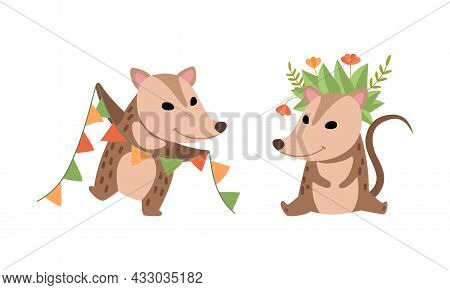 Cute Opossum Animal Holding Garland And Sitting With Flower Wreath On Its Head Vector Set