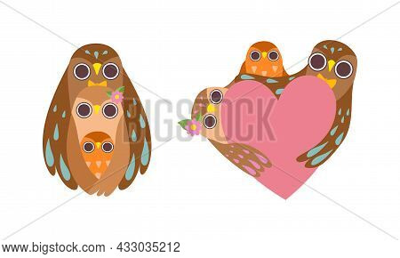 Happy Owl Family With Father, Mother And Baby Embracing Pink Heart Vector Set