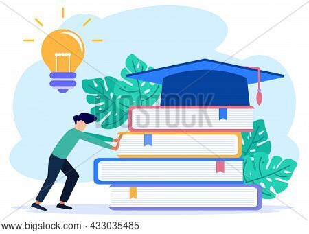 Modern Concept Education Flat Vector Illustration, Character Person Pushing A Stack Of Books. Live A