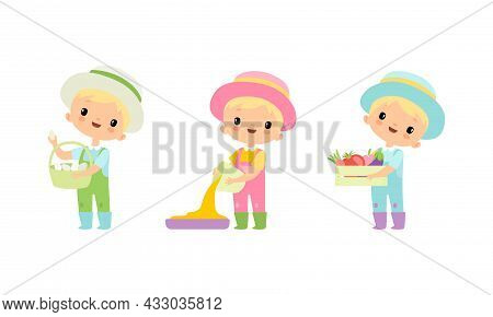 Little Blond Boy In Jumpsuit And Hat At Farm With Ripe Vegetable And Eggs Vector Set
