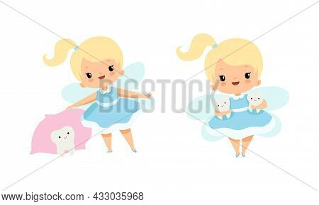 Cute Little Tooth Fairy With Blond Hair And Ponytail With First Baby Tooth Vector Set