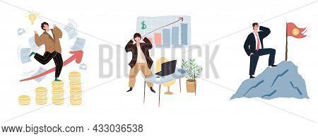 Set Of Vector Cartoon Flat Characters In Joyful Mood, Happy About Big Money Profit-profitable Tradin