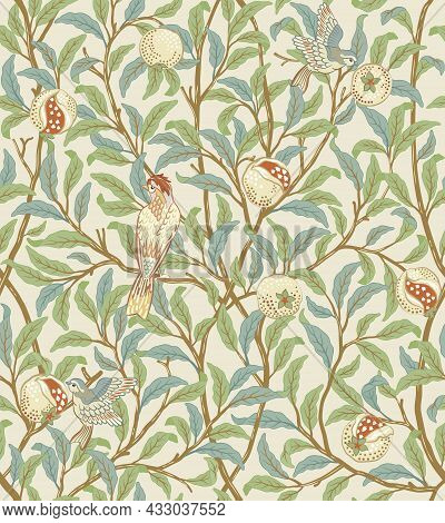 Vintage Birds In Foliage With Birds And Fruits Seamless Pattern On Light Beige Background. Middle Ag