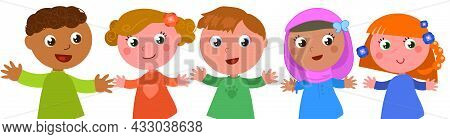 Group Of Happy Multi Ethnic Boys And Girls Cartoon Vector Illustration, Isolated On White