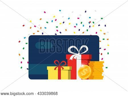 Gift Or Bonus Card. Earn Loyalty Points And Receive Online Rewards. Customer Service Business Advert