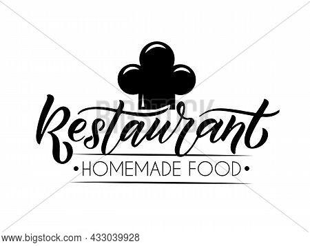 Vector Template For Bar, Cafe, Bistro Restaurant Logo. Hand Sketched Restaurant Logotype Lettering T