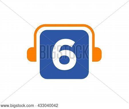 Headphone Logo On 6 Letter. Letter 6 Music Logo Design Template Headphone Concept