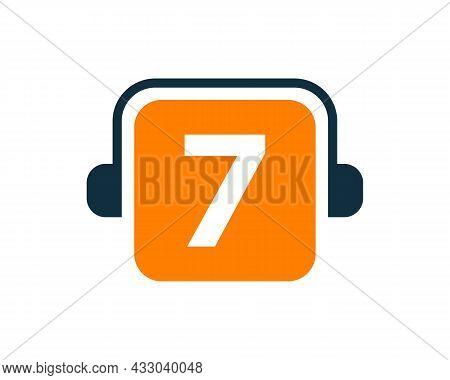 Headphone Logo On 7 Letter. Letter 7 Music Logo Design Template Headphone Concept Headphone Concept