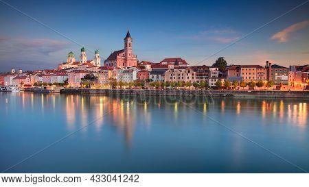 Passau Skyline, Germany. Panoramic Cityscape Image Of Passau Skyline, Bavaria, Germany At Autumn Sun