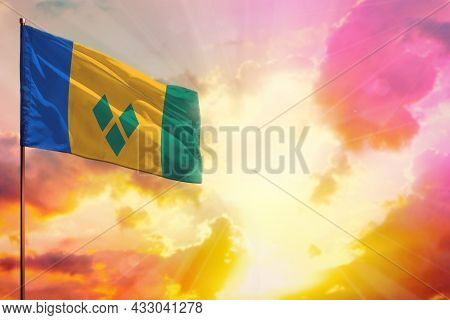 Fluttering Saint Vincent And The Grenadines Flag In Left Top Corner Mockup With The Place For Your I