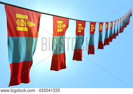 Wonderful Any Occasion Flag 3d Illustration  - Many Mongolia Flags Or Banners Hanging Diagonal On St