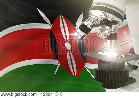 Microscope On Kenya Flag Background - Science Development Concept. Research In Pharmacy Or Cell Life