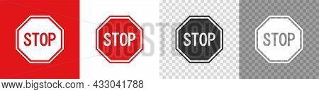 Red Road Stop Sign Icon Set. Access Ban Simbol. Vector Flat