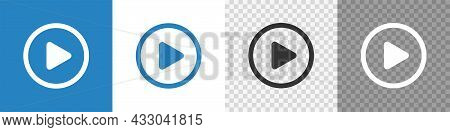 Video Play Button Set Icon. Flat Vector
