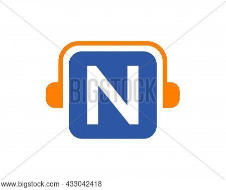 Headphone Logo On N Letter. Letter N Music Logo Design Template Headphone Concept
