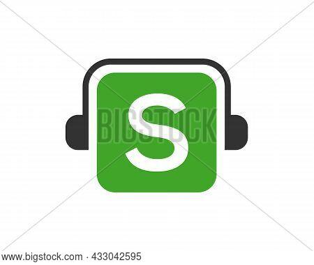 Headphone Logo On S Letter. Letter S Music Logo Design Template Headphone Concept