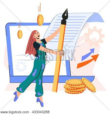 Online Contract Signing Concept With Business Woman Cartoon Character. Electronic Contract Or Digita