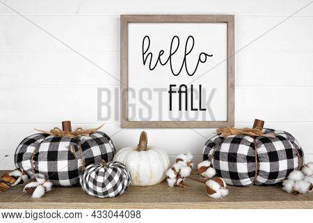 Modern Farmhouse Autumn Shelf Display With Black And White Buffalo Plaid Pumpkins And Rustic Hello F