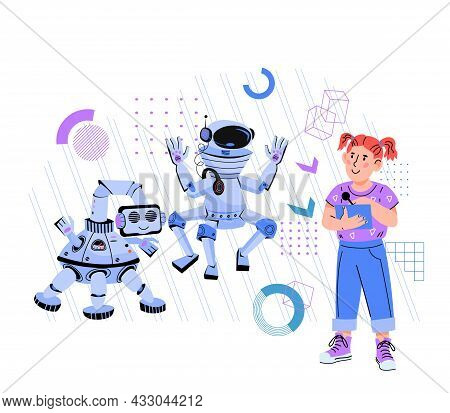 High Technology And Robotics For Kids Concept With Child Controlling Robots, Flat Vector Illustratio