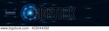Abstract Technology Hud Gui Ui With Glowing Blue Circuit Lines Pattern. Dark Innovation Digital Hi T
