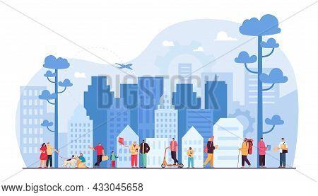 Cartoon People Living In Smart City Of Future. Men And Women Walking In Street, Office Buildings In