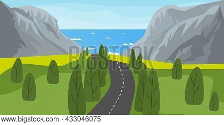 Sea, Mountain And Road Landscape Vector Illustration. Nature Background. Highway To The Ocean.
